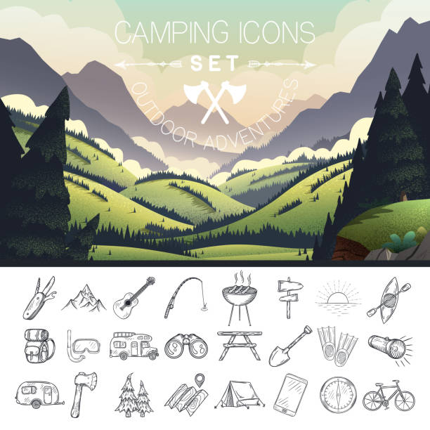 Set of hand drawn camping icons. Set of hand drawn camping icons. Vector illustration. wilderness stock illustrations