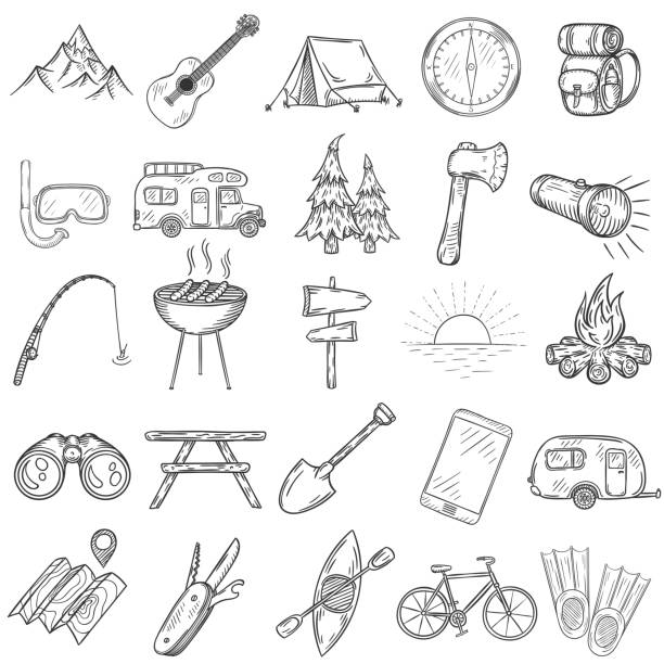 Set of hand drawn camping icons. Set of hand drawn camping icons. Vector illustration. adventure drawings stock illustrations