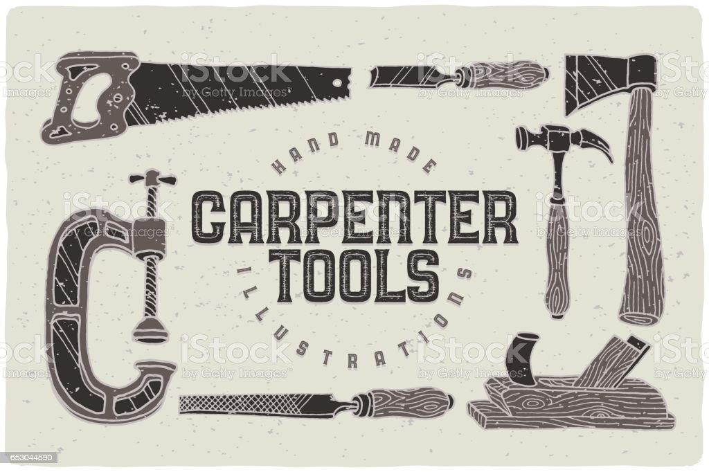Conjunto de carpinteiro desenhada mão ferramentas ilustrações - ilustração de arte em vetor