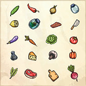 Set of hand drawn cartoon images of food and kitchen stuff.
