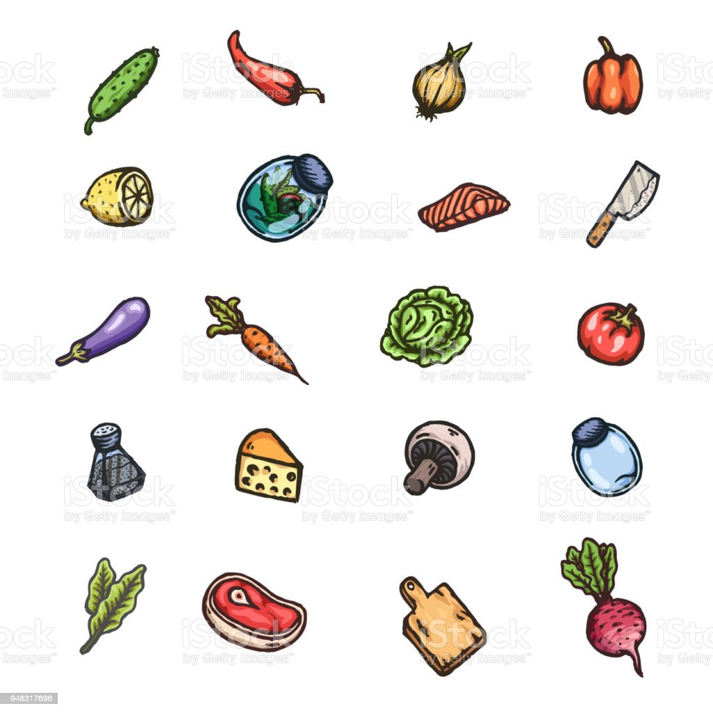 Set Of Hand Drawn Cartoon Images Of Food And Kitchen Stuff Stock ...