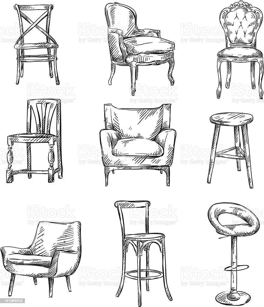 Set of hand drawn chairs vector art illustration