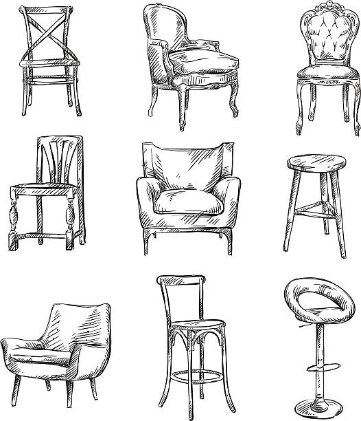 bildbanksillustrationer, clip art samt tecknat material och ikoner med set of hand drawn chairs - stol