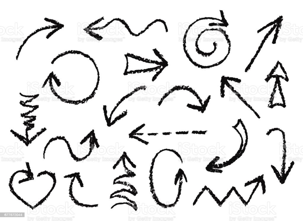 Set of hand drawn charcoal fun black arrows. Hand painting design elements. vector art illustration