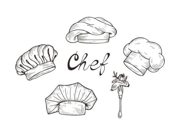 satz von handgezeichneten koch hüte und mützen in verschiedenen formen - hauben stock-grafiken, -clipart, -cartoons und -symbole