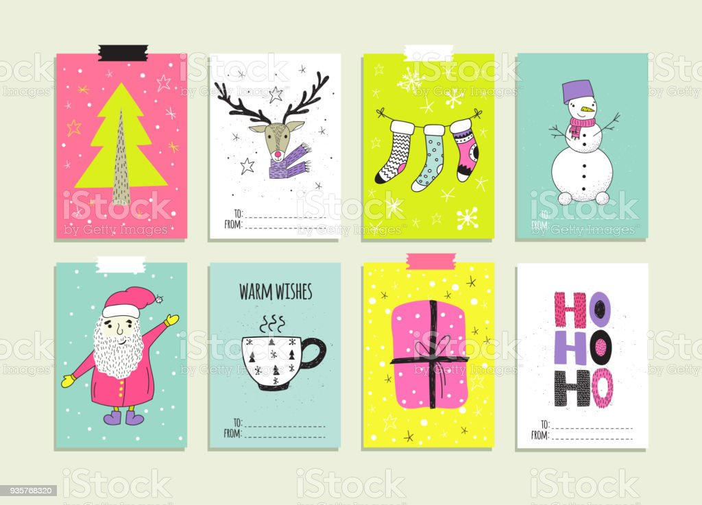 Set Of Hand Drawn Christmas Card Templates Stock Vector Art & More ...
