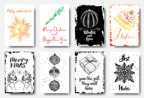 Set of hand drawn Christmas greeting cards. Great print for invitations, posters, tags. Feliz navidad, Winter and Love, I believe, Merry X-MAS, Best Wishes. Vector