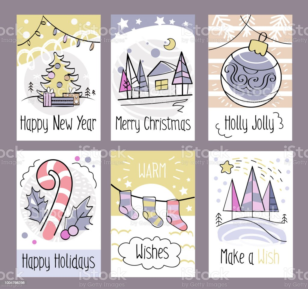 Set of hand drawn christmas greeting cards happy new year merry set of hand drawn christmas greeting cards happy new year merry christmas holly m4hsunfo