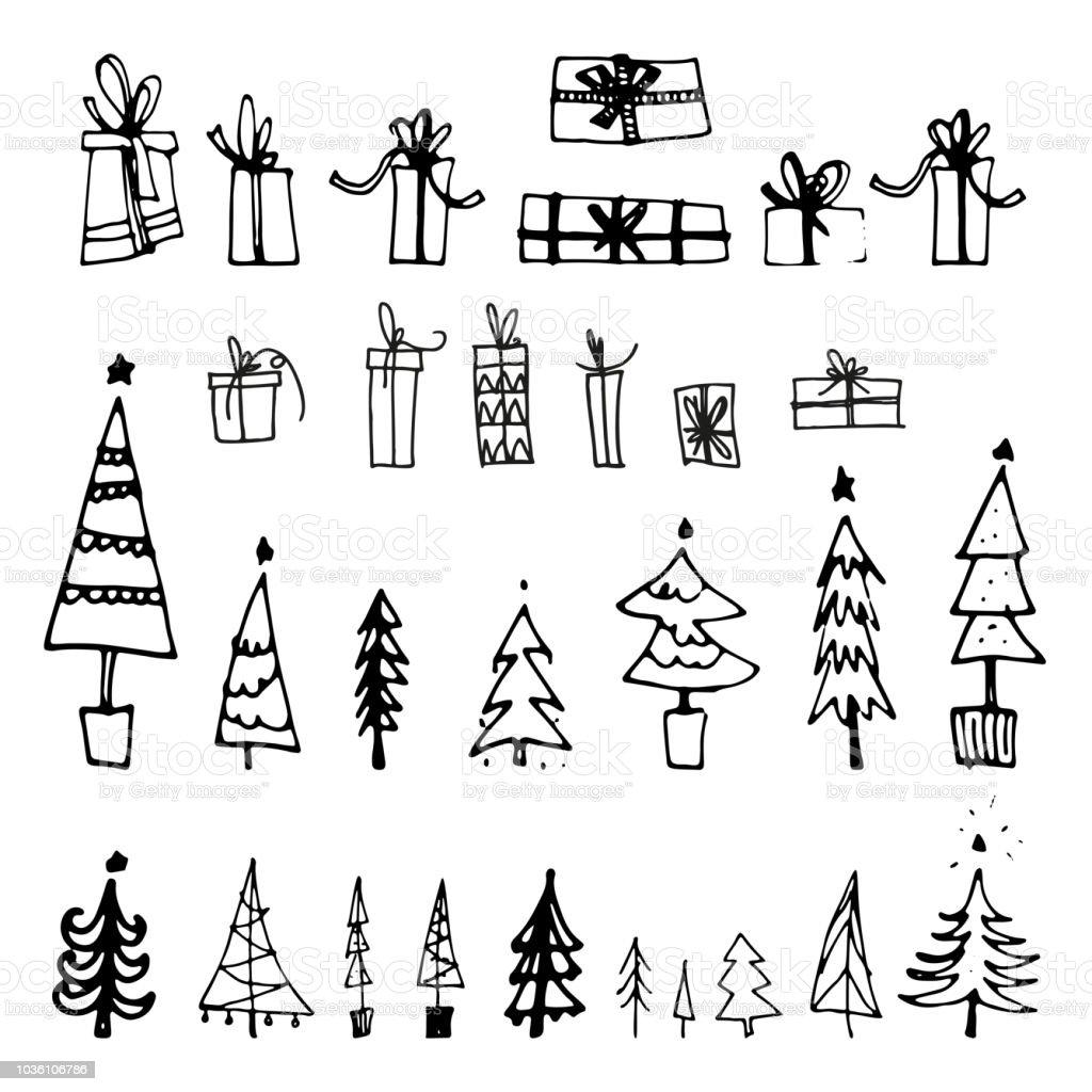 hand drawn or hand drawn christmas