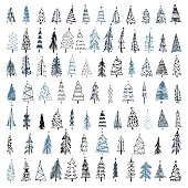 Set of hand drawn Christmas tree. Holiday decoration isolated elements. Vector illustration. Use for Greeting Scrap booking, Congratulations, Invitations