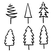 Set of hand drawn Christmas trees. Collection of black and white Christmas trees. doodle cartoon
