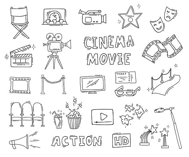 Set of hand drawn cinema icons Cinema hand drawn decorative icons isolated. Set with clapperboard, camera, chairs, award, film strip, popcorn ticket and others. Vector illustration premiere event stock illustrations