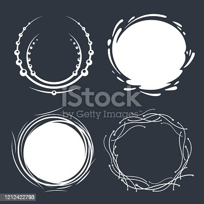 Set of hand drawn circle scribbles with floral elements, water splash and dots. Vector design elements. Round frames