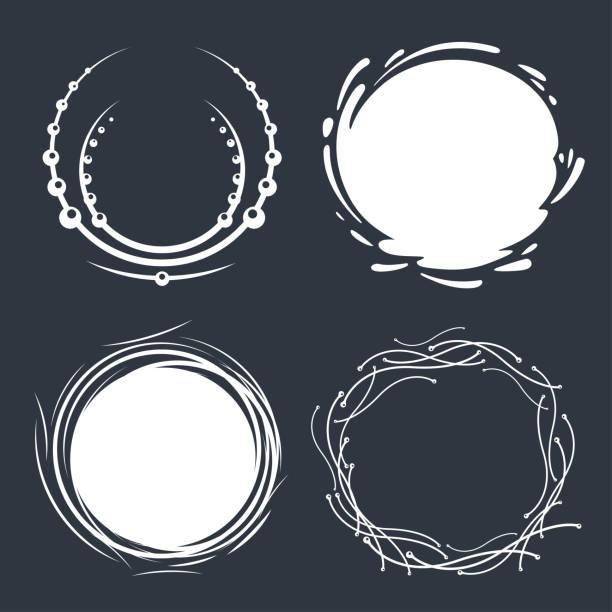 bildbanksillustrationer, clip art samt tecknat material och ikoner med uppsättning handritade cirkelramar - bo