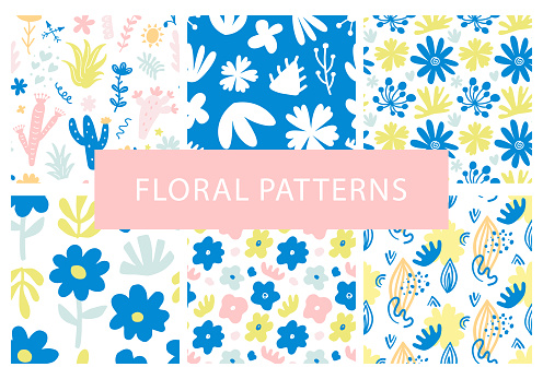 Set of hand drawn colorful floral seamless repeat patterns