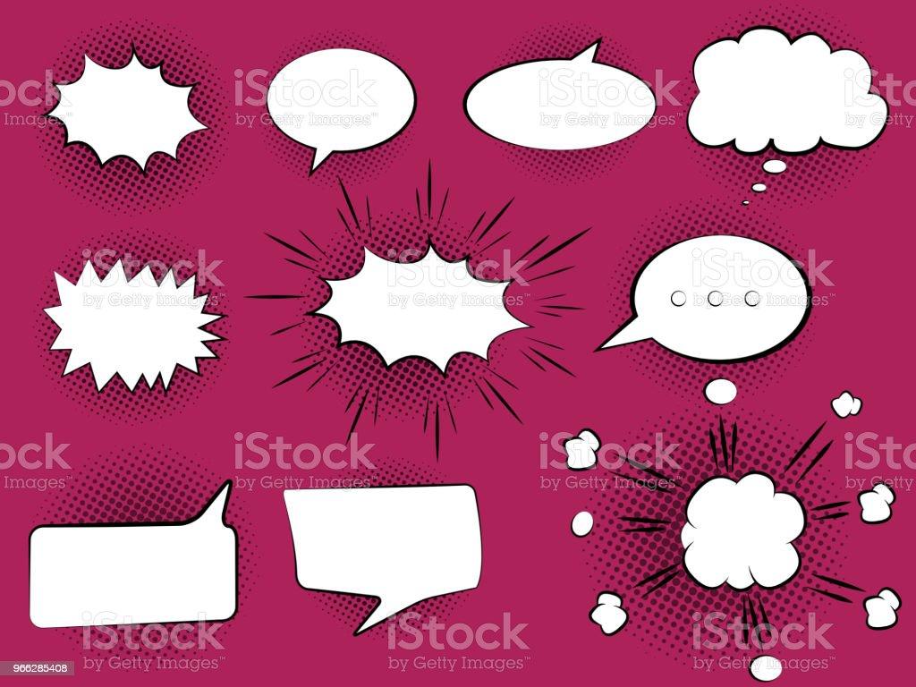 Set of hand drawn Comic Speech Bubbles. Vector Illustration vector art illustration