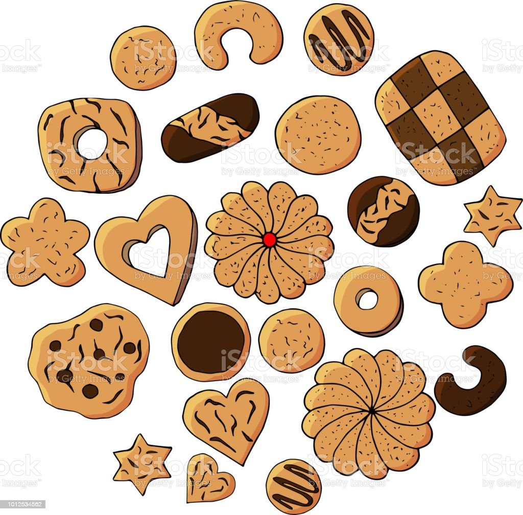 手描きのクッキーのセット白い背景の描かれたイラストを手します子供