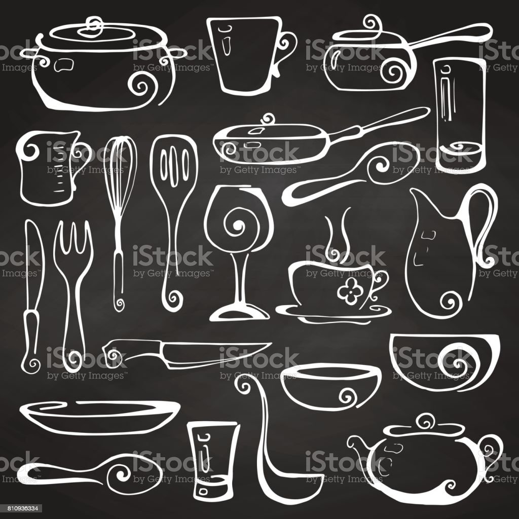 Set of hand drawn cookware on the chalkboard. Vector illustration. vector art illustration
