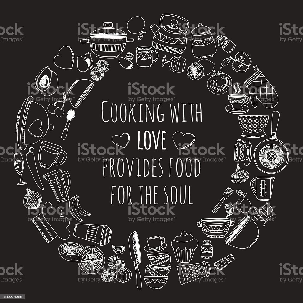 Hand Gezeichnete Satz Von Küchenutensilien Stock Vektor Art und mehr ...