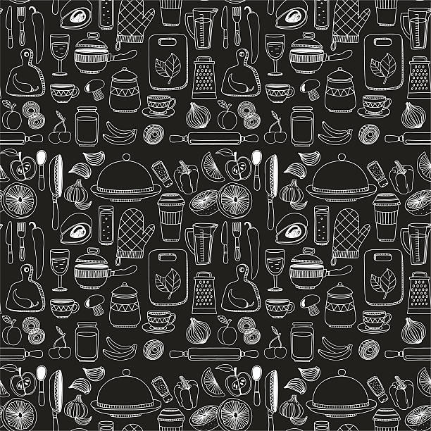 Set of hand drawn cookware. Set of hand drawn cookware. Kitchen background. Doodle kitchen equipments. Vector illustration cooking patterns stock illustrations