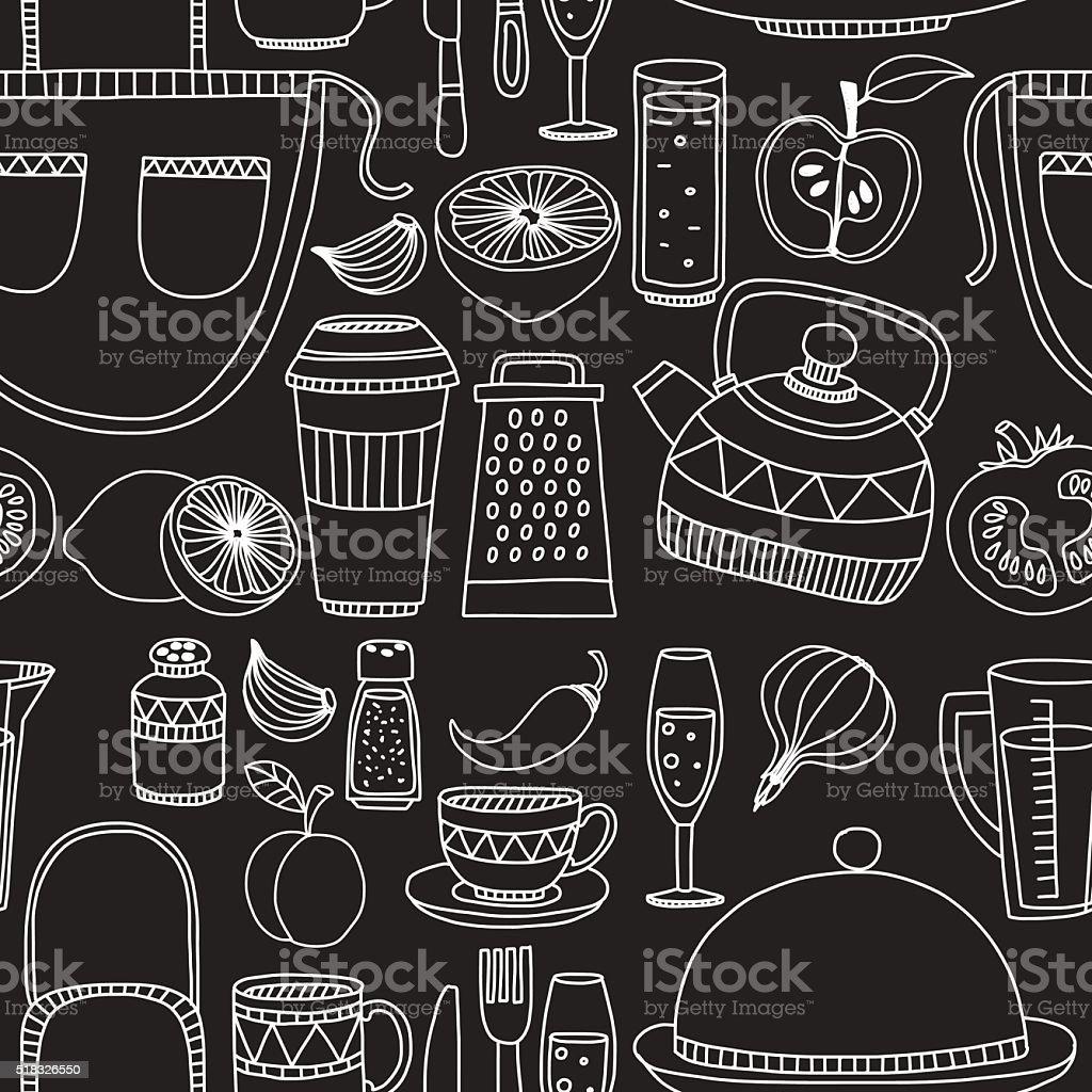 Hand Gezeichnete Satz Von Küchenutensilien Stock Vektor Art und mehr