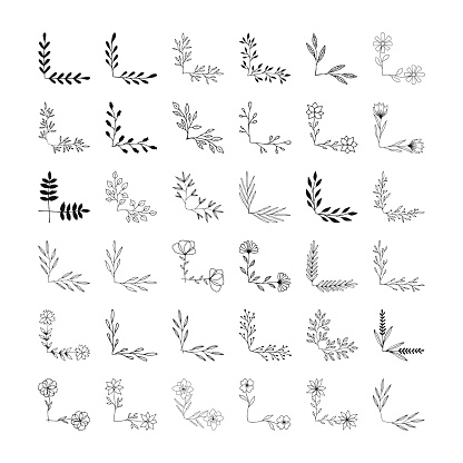 Set of hand drawn corners and borders for page decoration. Wedding design elements.