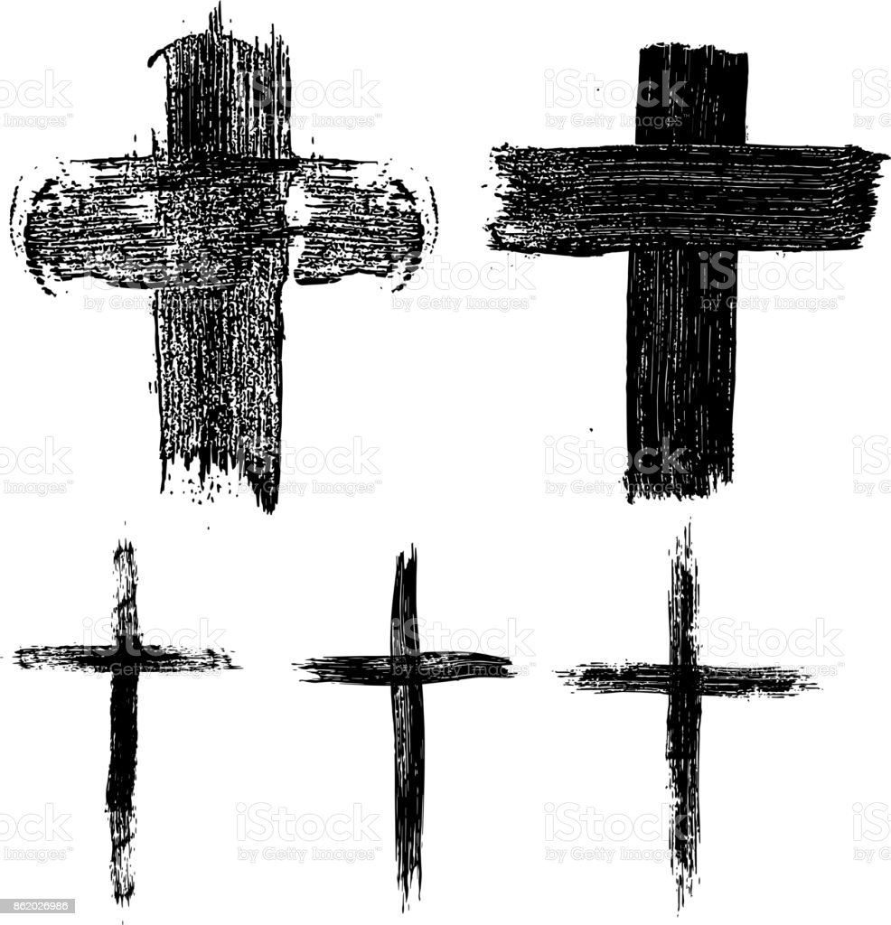 Set of hand drawn crosses. Religious symbols.
