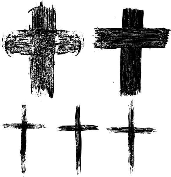 손으로 그린 십자가의 집합입니다. 종교적 기호입니다. - 십자가 stock illustrations
