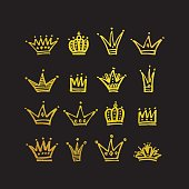 Set of vector hand drawn crowns with paint texture.