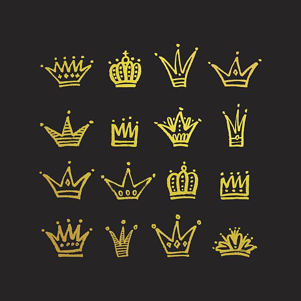 set of hand drawn crowns. - prince stock-grafiken, -clipart, -cartoons und -symbole