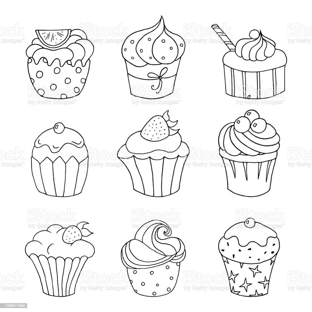 satz von handgezeichneten cupcakes auf weißem hintergrund