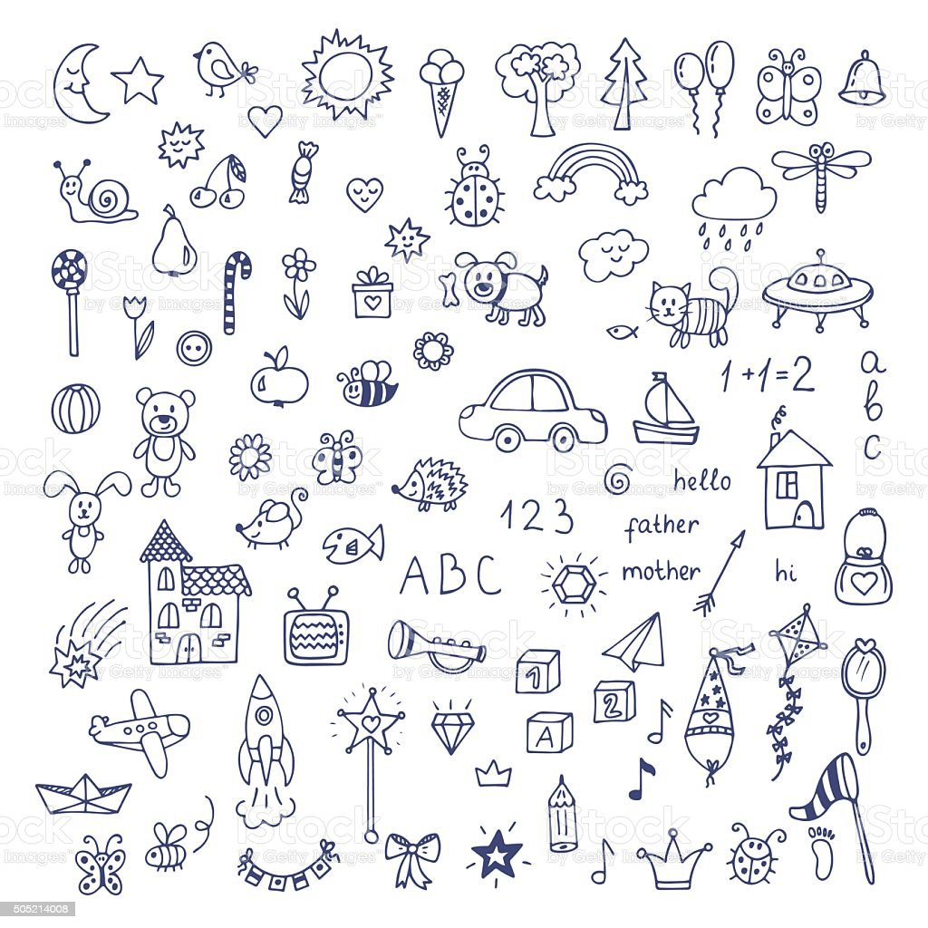 Set of hand drawn cute doodles. Doodle children drawing vector art illustration