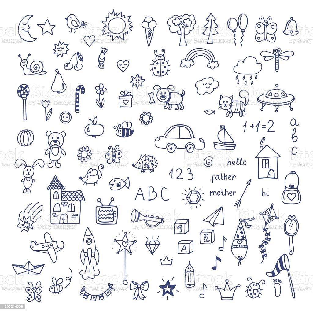 Set of hand drawn cute doodles. Doodle children drawing vector art illustration