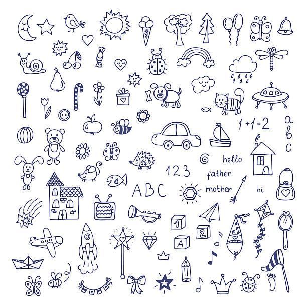 stockillustraties, clipart, cartoons en iconen met set of hand drawn cute doodles. doodle children drawing - baby toy