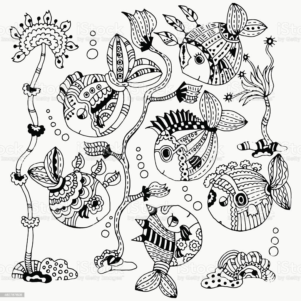 Set Di Disegno A Mano Carino Pesci Conchiglie E Alghe Immagini