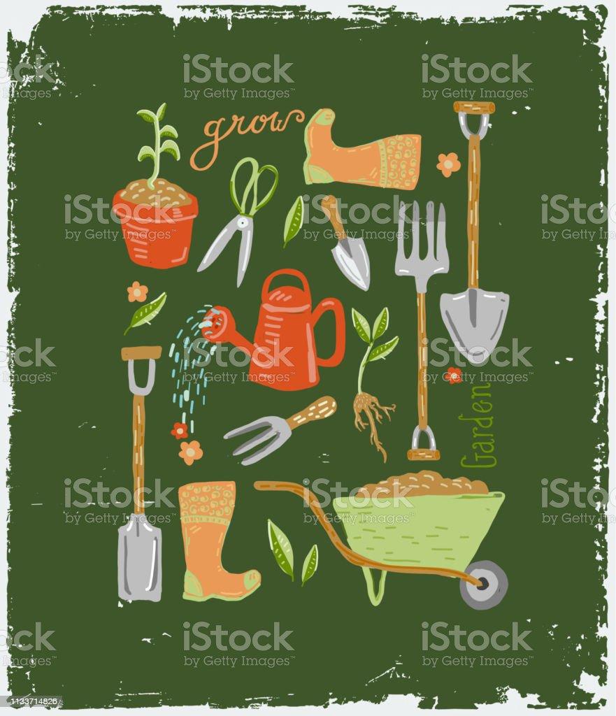 Ensemble d'outils et d'équipement mignons de jardinage dessinés à la main avec le lettrage à la main - clipart vectoriel de Abstrait libre de droits