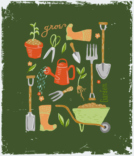 ilustrações de stock, clip art, desenhos animados e ícones de set of hand drawn cute gardening tools and equipment with hand lettering - gardening