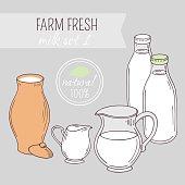 Set of hand drawn dairy farm objects