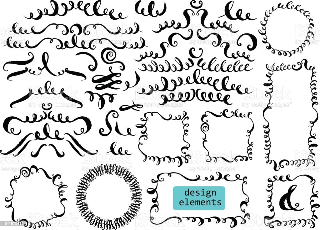 Set of hand drawn decorative elements vector art illustration