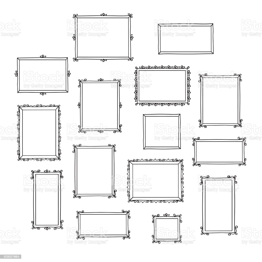 Set of hand drawn decorative photo frames. vector art illustration