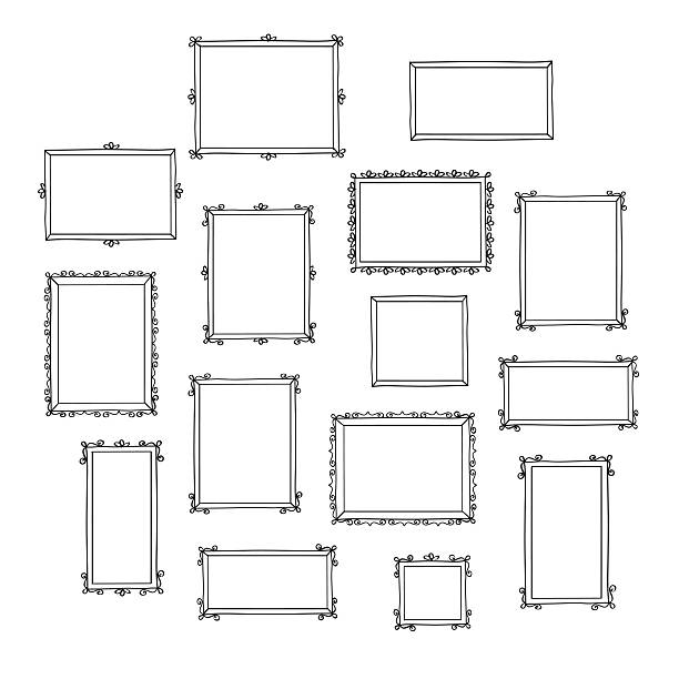 ilustraciones, imágenes clip art, dibujos animados e iconos de stock de conjunto de dibujado a mano decorativa marcos de fotos. - marcos de garabatos y dibujados a mano