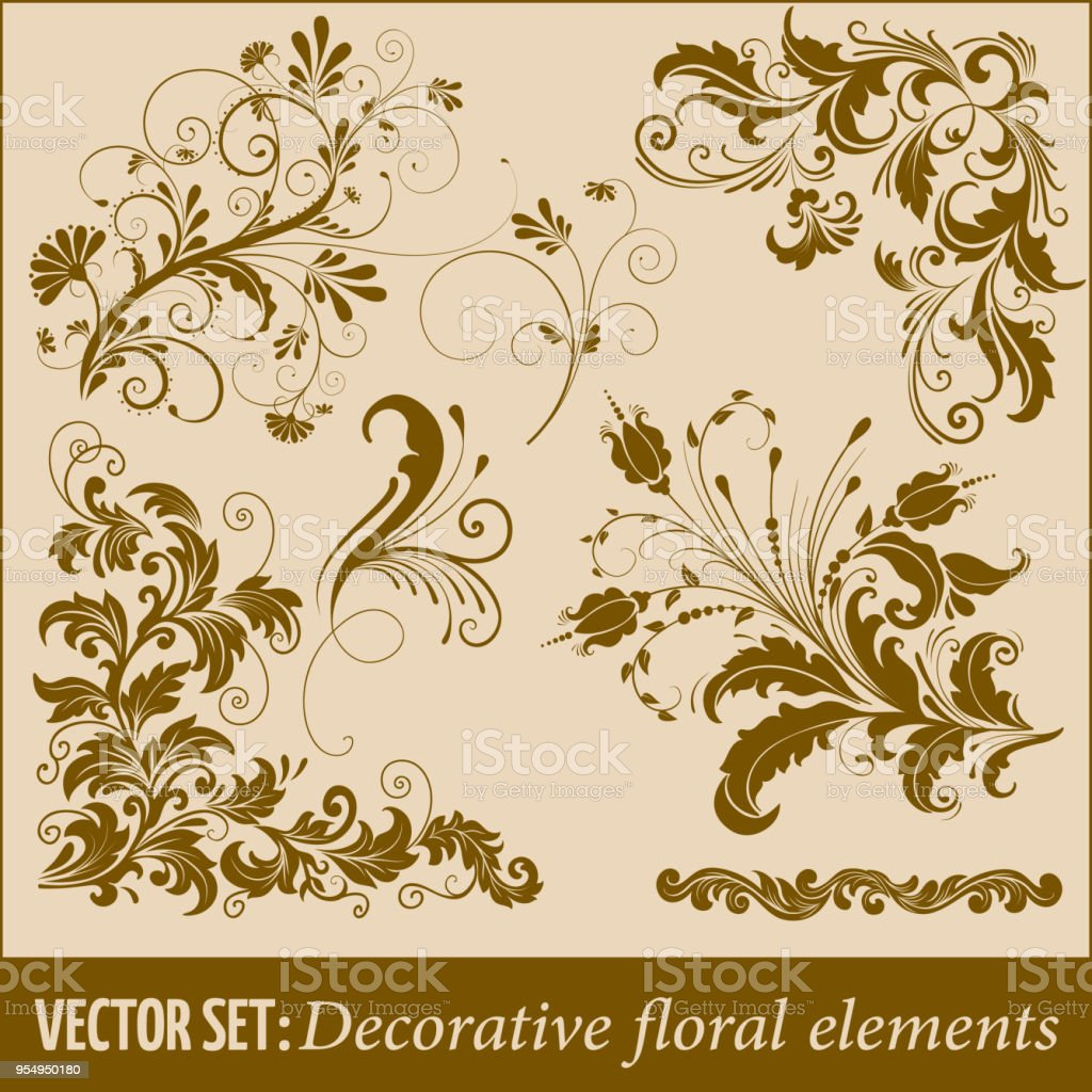 Set Of Hand Drawn Decorative Vector Floral Elements For Design Page ...