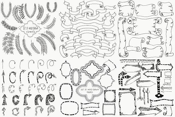ilustraciones, imágenes clip art, dibujos animados e iconos de stock de conjunto de elementos de diseño dibujados a mano. - marcos de garabatos y dibujados a mano