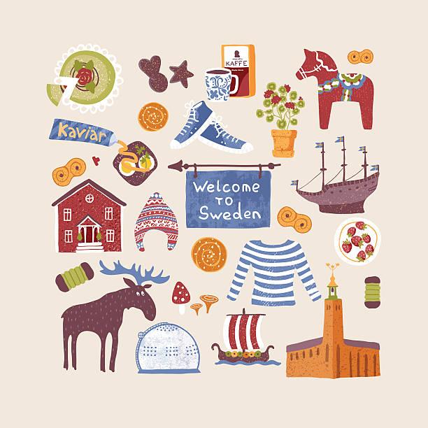 illustrations, cliparts, dessins animés et icônes de groupe de dessiné à la main des éléments de conception avec des symboles suédois - suede