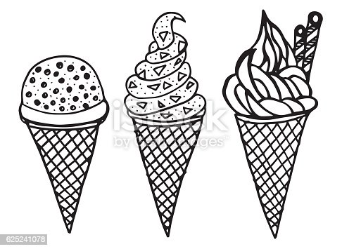 Set Of Hand Drawn Different Ice Cream Cone Doodle