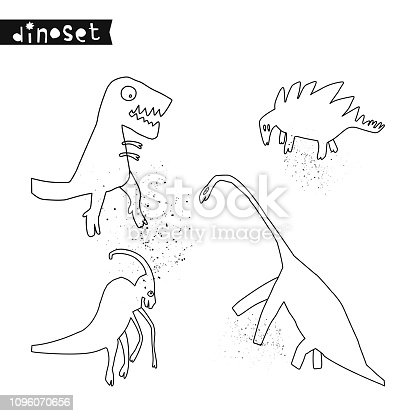 Set of hand drawn dinosaurs. Sketch Jurassic reptiles. Collection of funny doodle cartoon dino