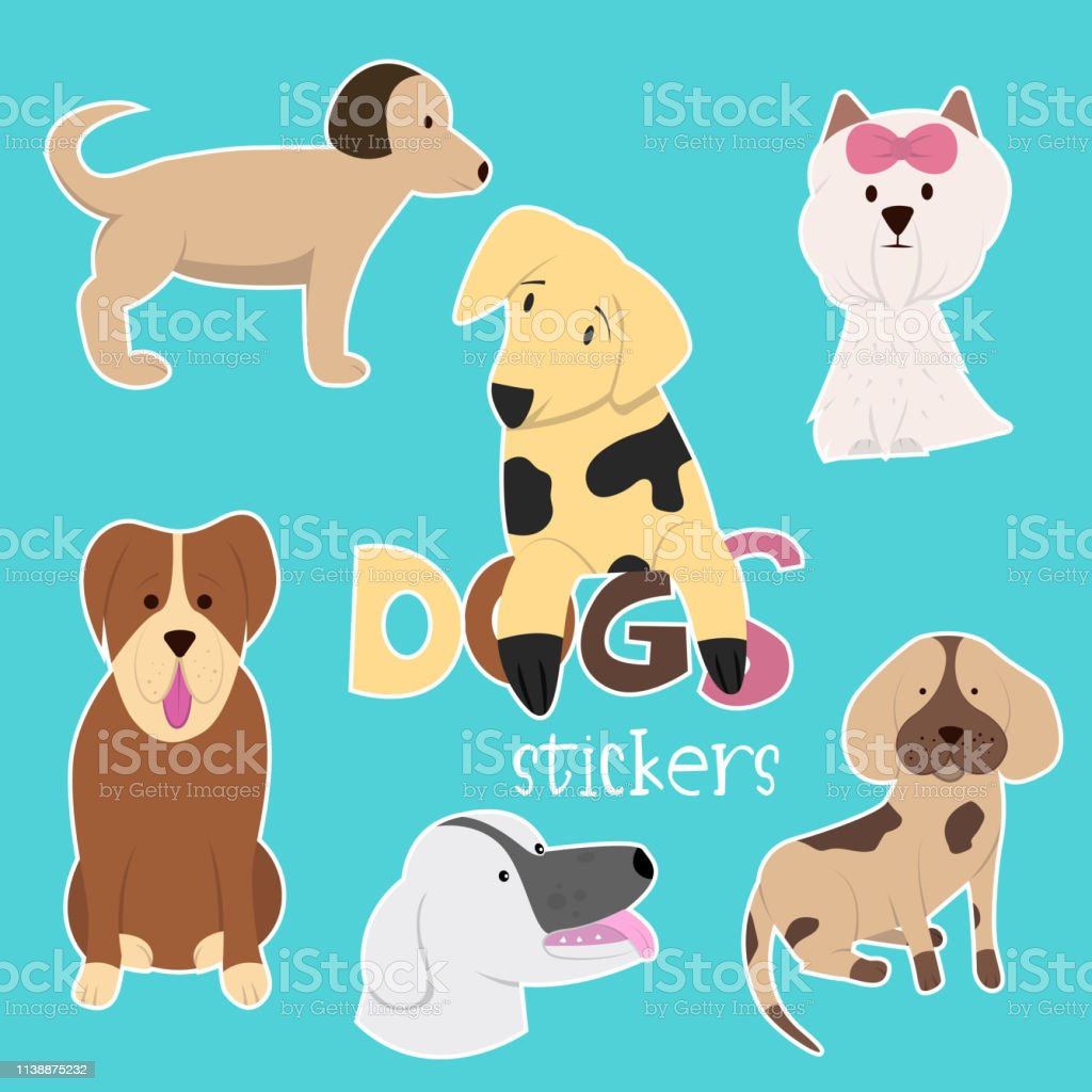 Set Of Hand Drawn Dogs Vector Design Illustration Stock Illustration