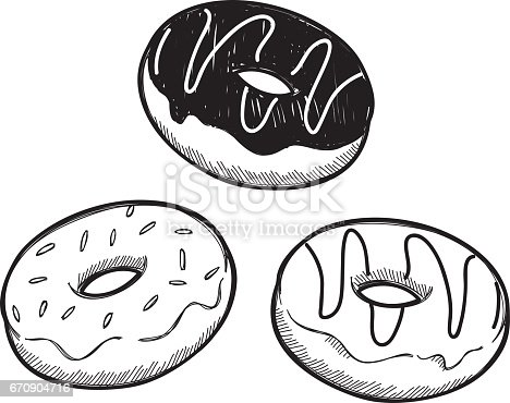 istock Set of hand drawn donut 670904716