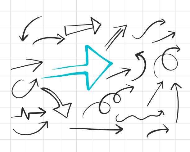 Satz von handgezeichneten Doodle-Pfeilen – Vektorgrafik