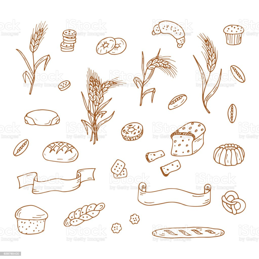 Set of Hand drawn Doodle Bakery, Wheat ears and banners vector art illustration